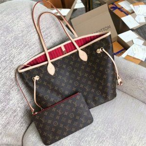 💯LouisVuitton💯 Neverfull MM Brown Red